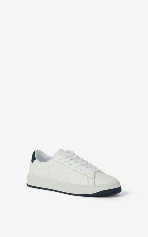 NAVY BLUE KENZO Kourt K Logo leather trainers for unisex