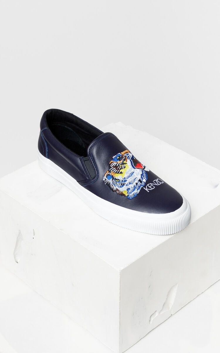 NAVY BLUE Tiger Head' Leather Slip-On Trainers 'Go Tigers Capsule' for women KENZO