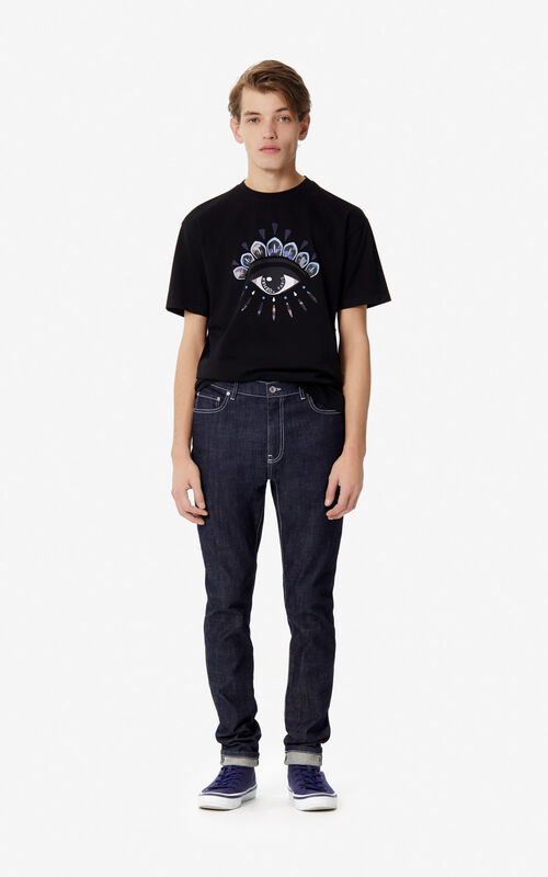 BLACK 'Indonesian Flower' Eye t-Shirt for men KENZO