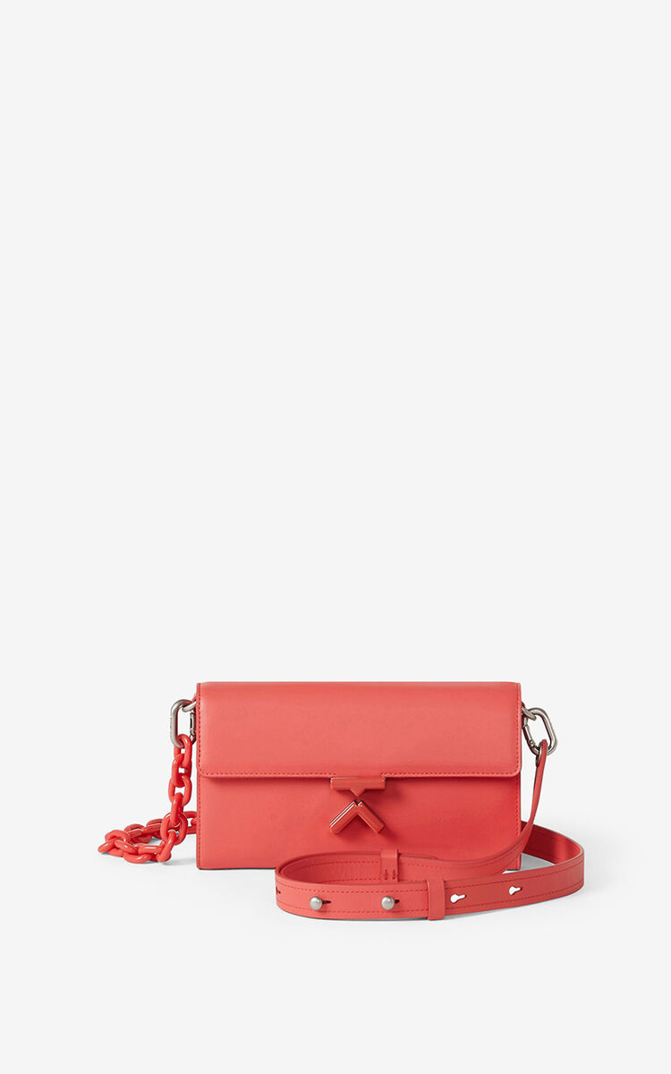 PEACH KENZO K leather chain wallet for unisex