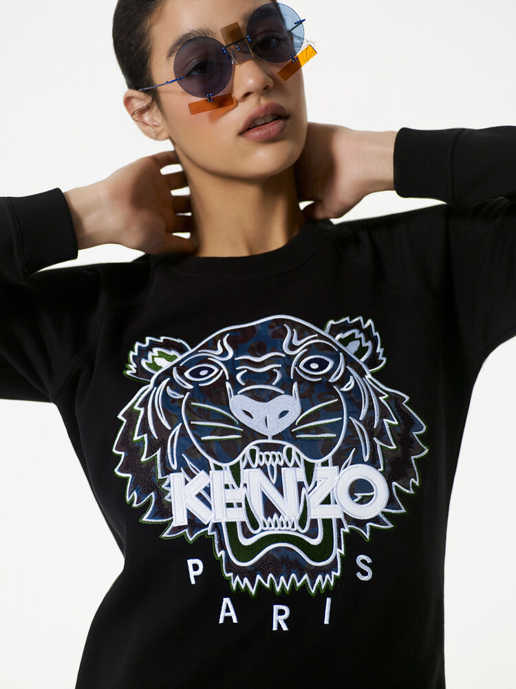BLACK Tiger x Floral Leaf' Sweatshirt Dress  for women KENZO
