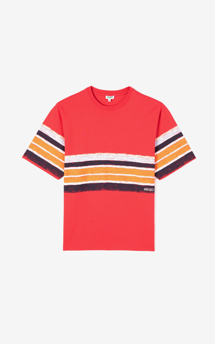 MEDIUM RED Striped t-shirt for men KENZO