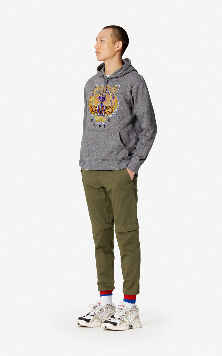 ANTHRACITE 'Hiking Tiger' hoody for men KENZO