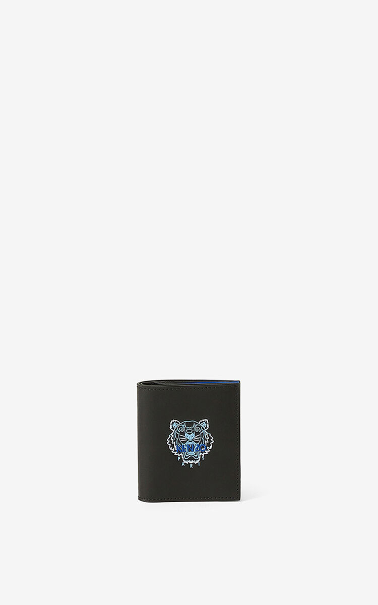 BLACK Small leather Ekusson Tiger wallet   for unisex KENZO