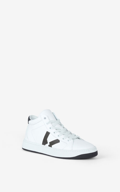 WHITE KENZO Kourt high-top leather trainers for unisex