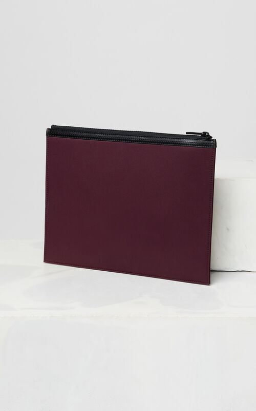 BORDEAUX A4 KENZO Logo clutch for men