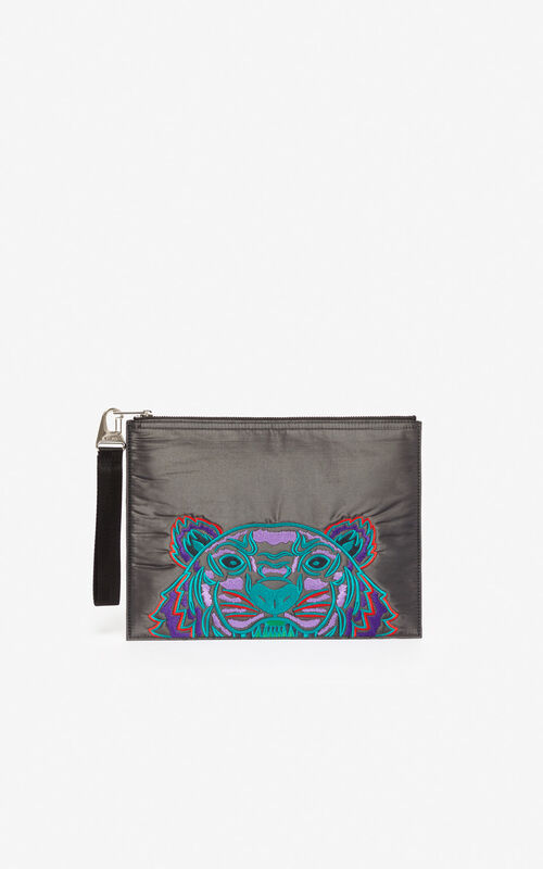 ANTHRACITE 'Holiday Capsule' A4 Tiger 'Kampus' clutch for unisex KENZO