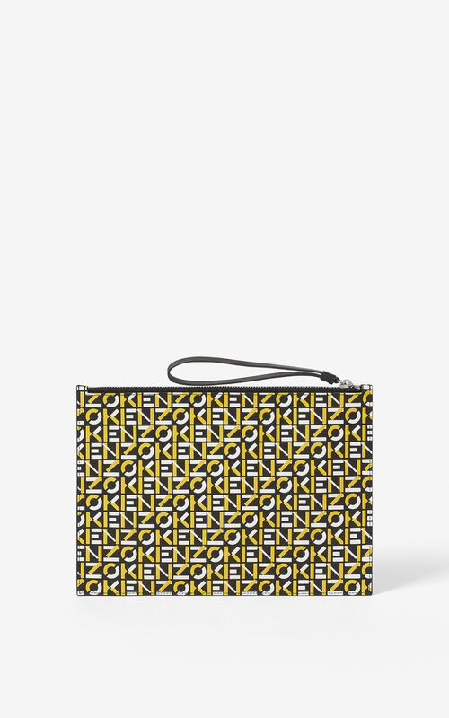 GOLDEN YELLOW Large monogram leather clutch  for unisex KENZO