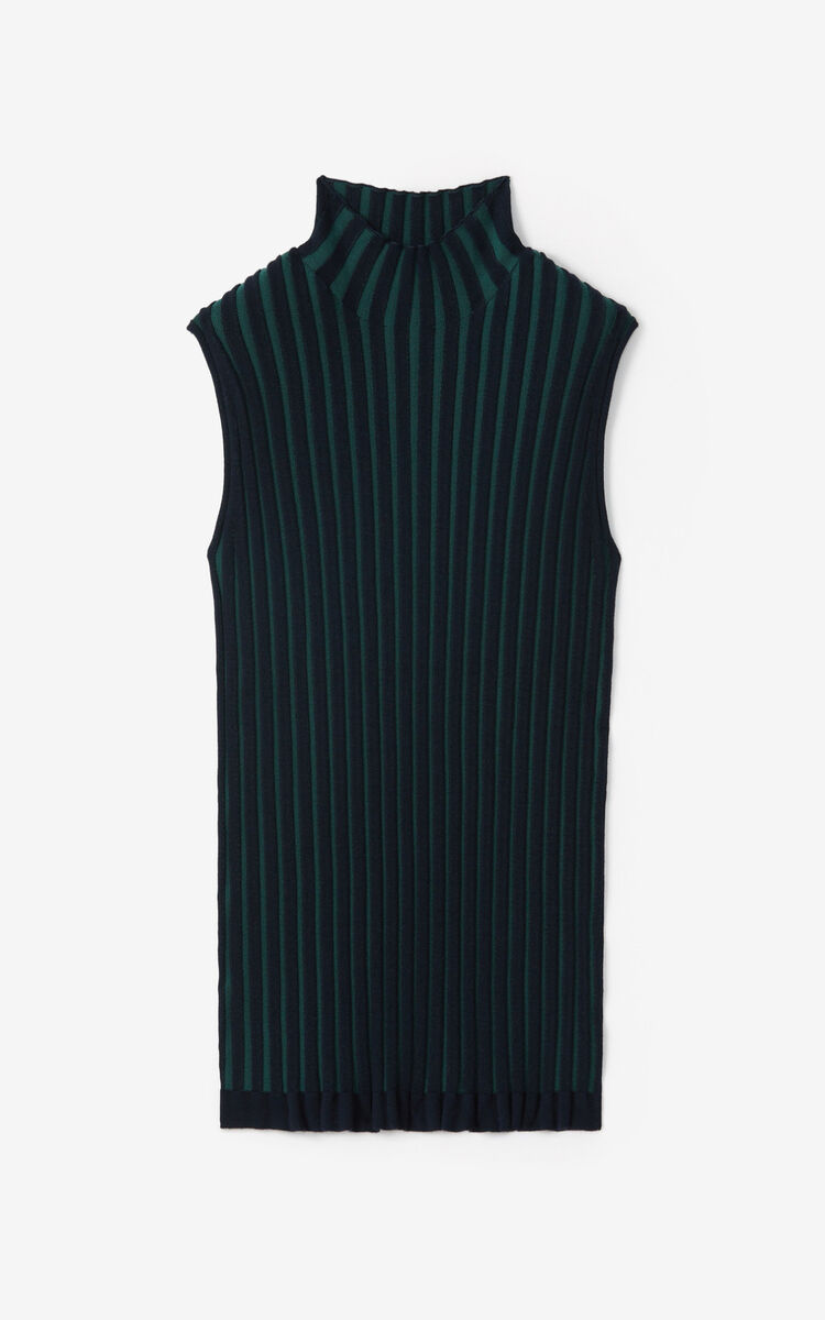 DUCK BLUE Pleated knit vest top for women KENZO