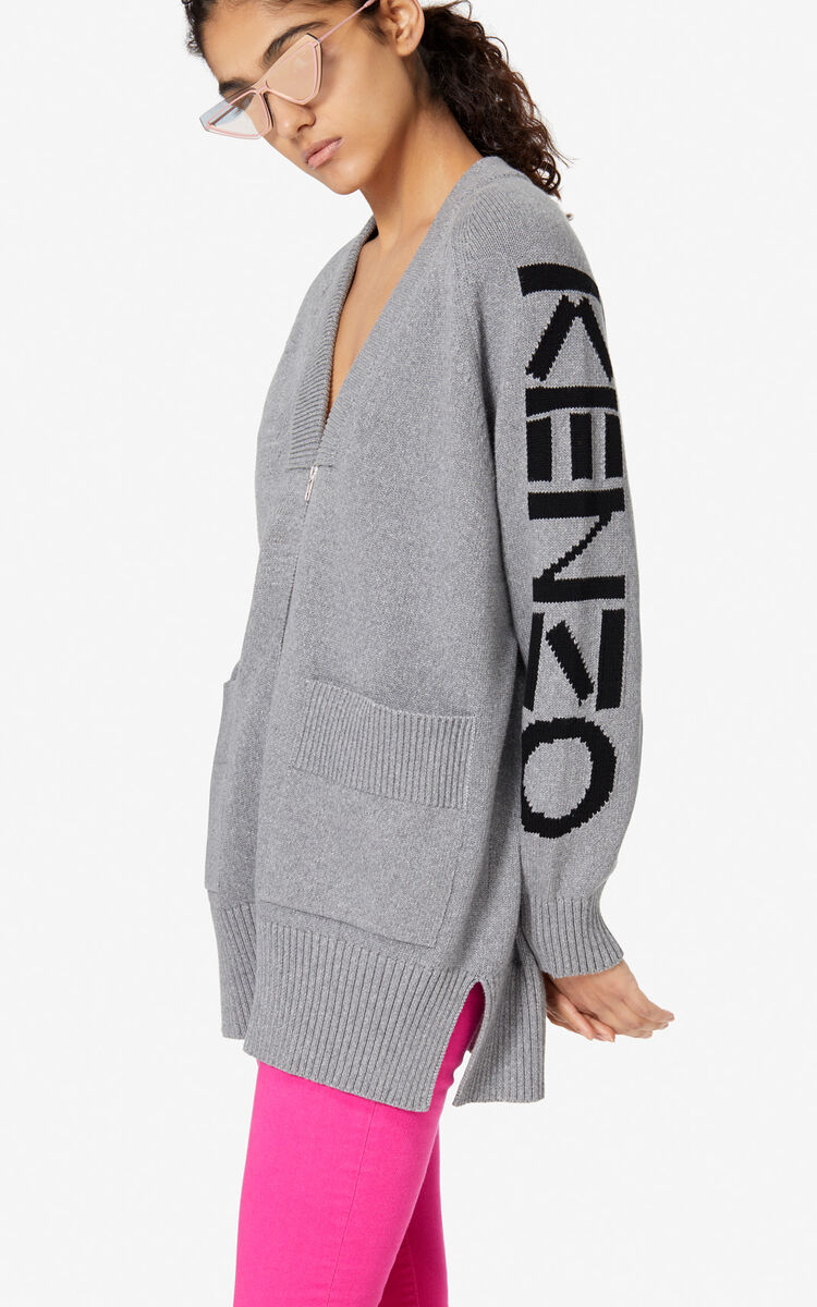 PALE GREY KENZO zipped cardigan for women