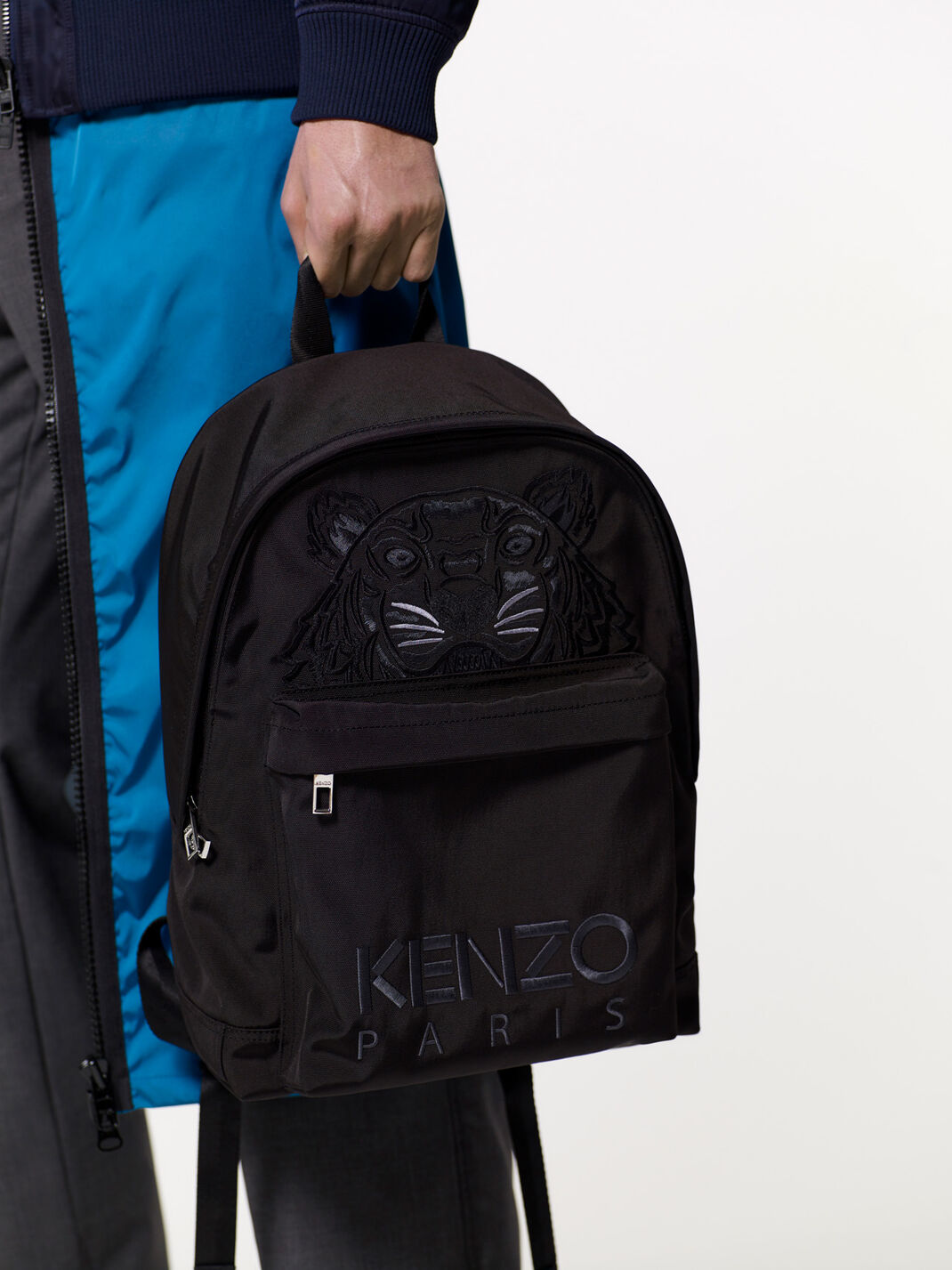 BLACK Large Tiger Canvas Backpack for women KENZO
