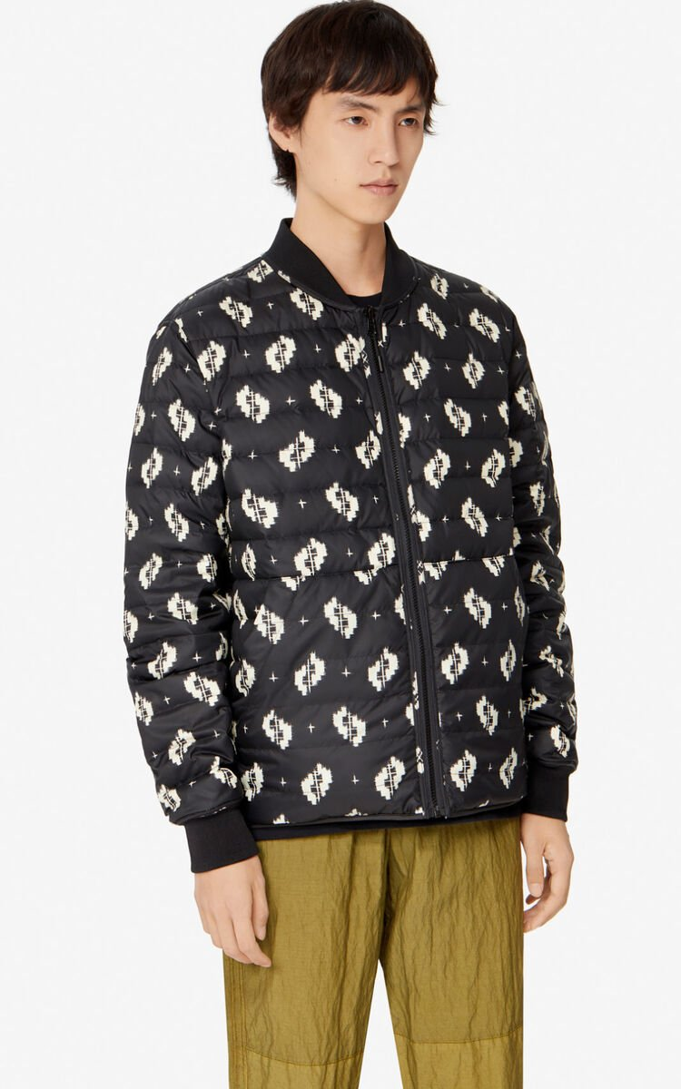 BLACK 'Ikat' reversible puffer jacket for men KENZO