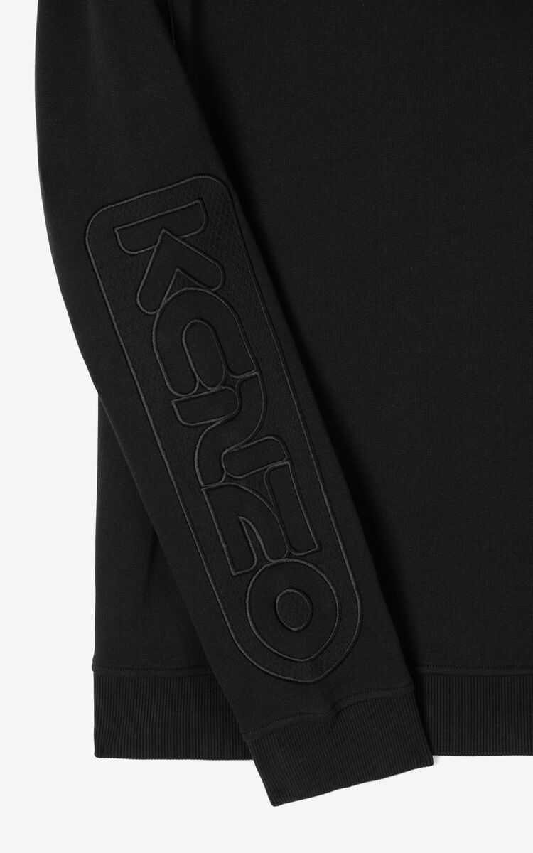 BLACK Dual-material sweatshirt for men KENZO