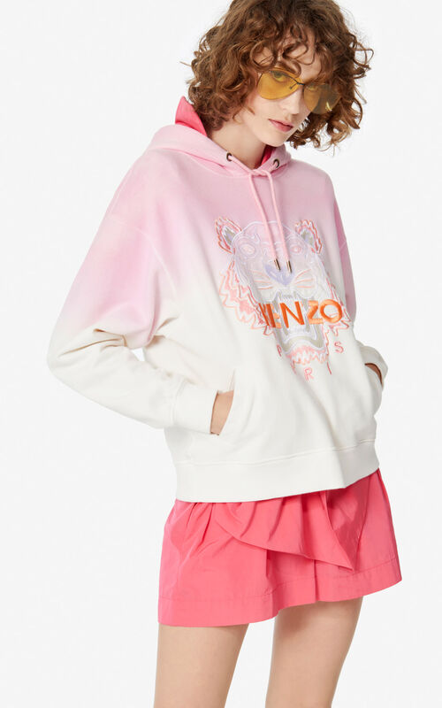 FLAMINGO PINK Gradient hooded Tiger sweatshirt for women KENZO