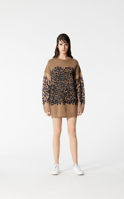 DARK BEIGE Leopard print jumper dress for women KENZO