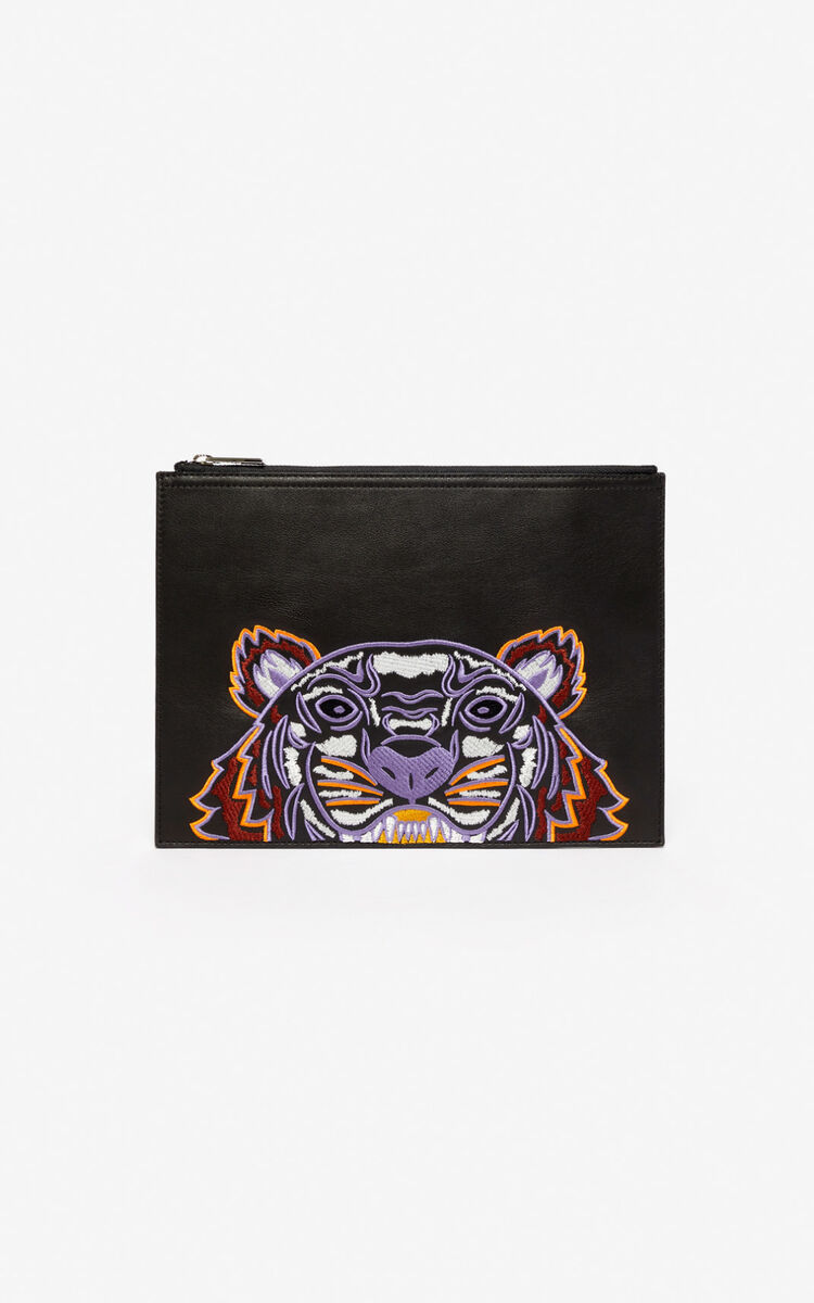 BLACK Tiger leather clutch for unisex KENZO