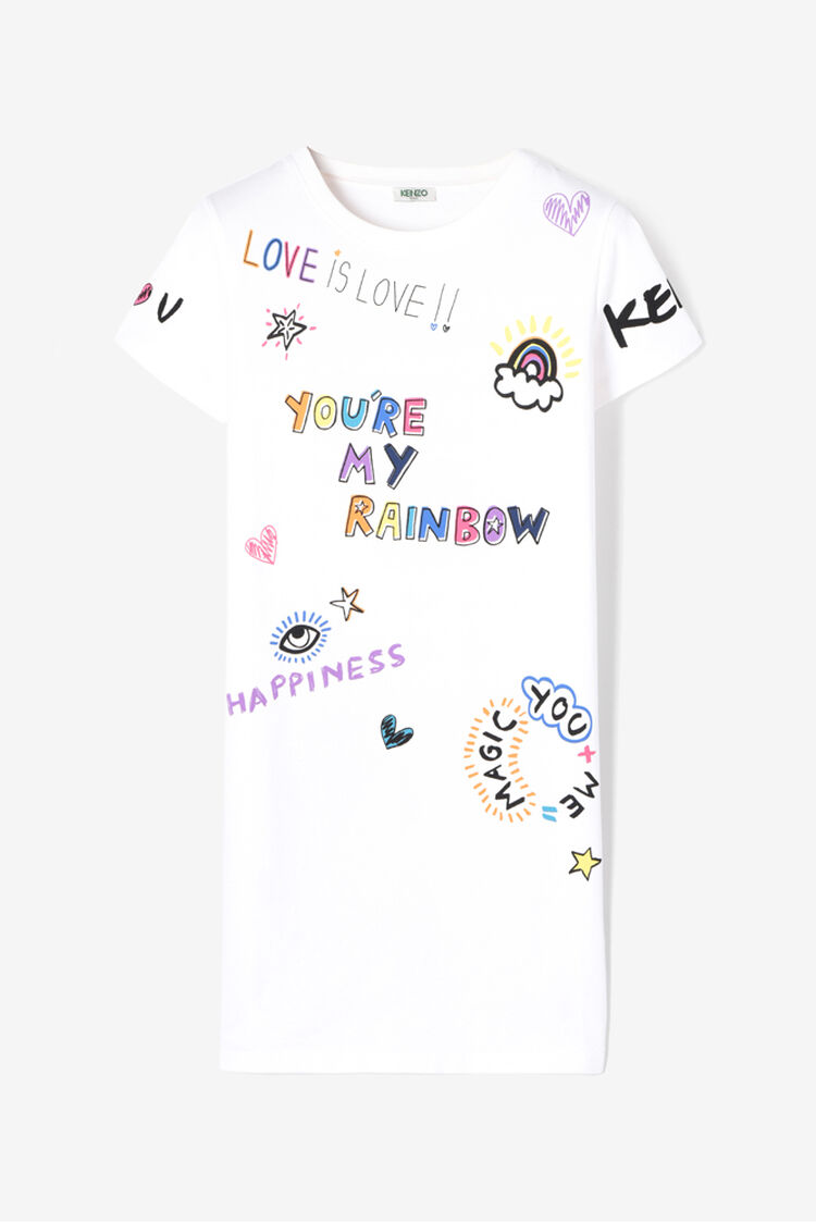WHITE Rainbow x I Love You' T-shirt Dress  for women KENZO