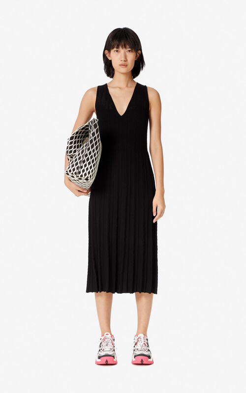 BLACK Knit midi dress for women KENZO