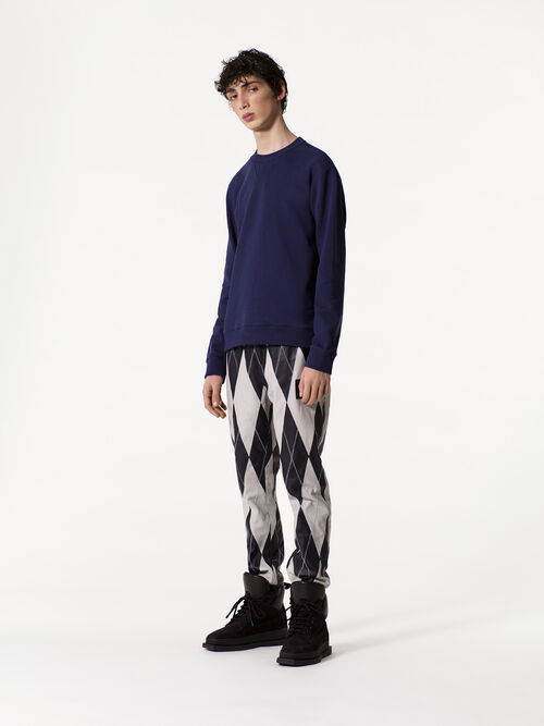NAVY BLUE Lambskin 'Check' Sweatpant for men KENZO