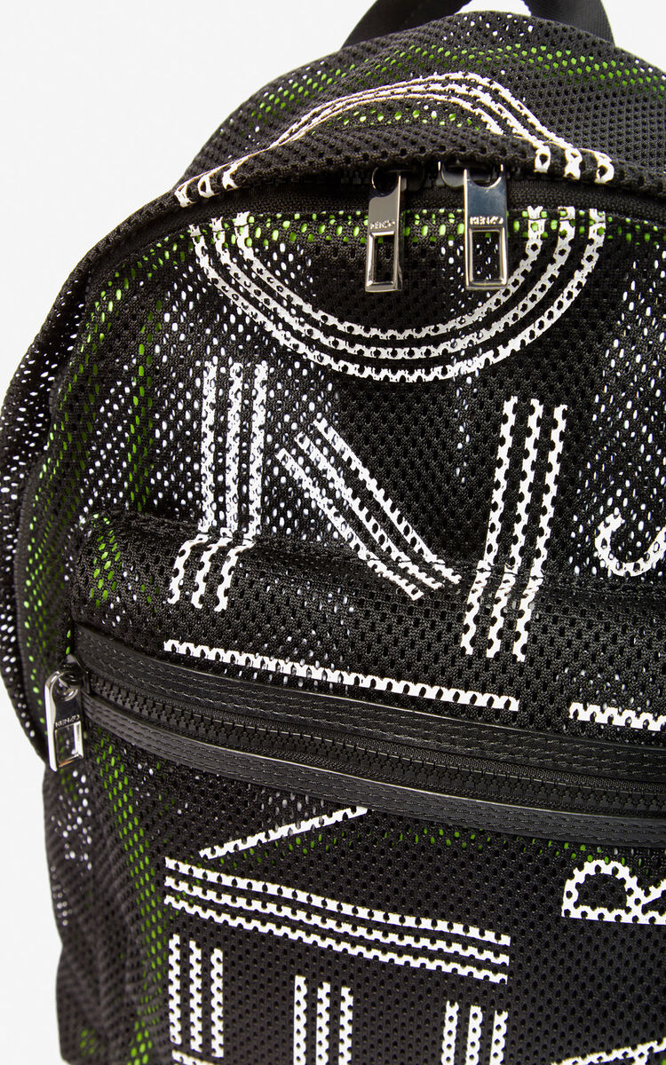 BLACK Large KENZO Logo mesh backpack for unisex