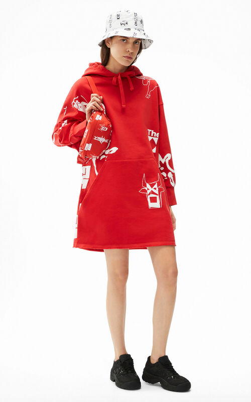 MEDIUM RED Sign & Symbol' sweatshirt dress for women KENZO