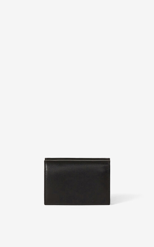 BLACK KENZO K mini leather wallet for unisex