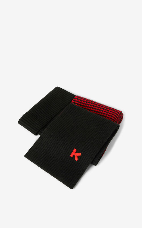 MEDIUM RED Wool scarf for unisex KENZO