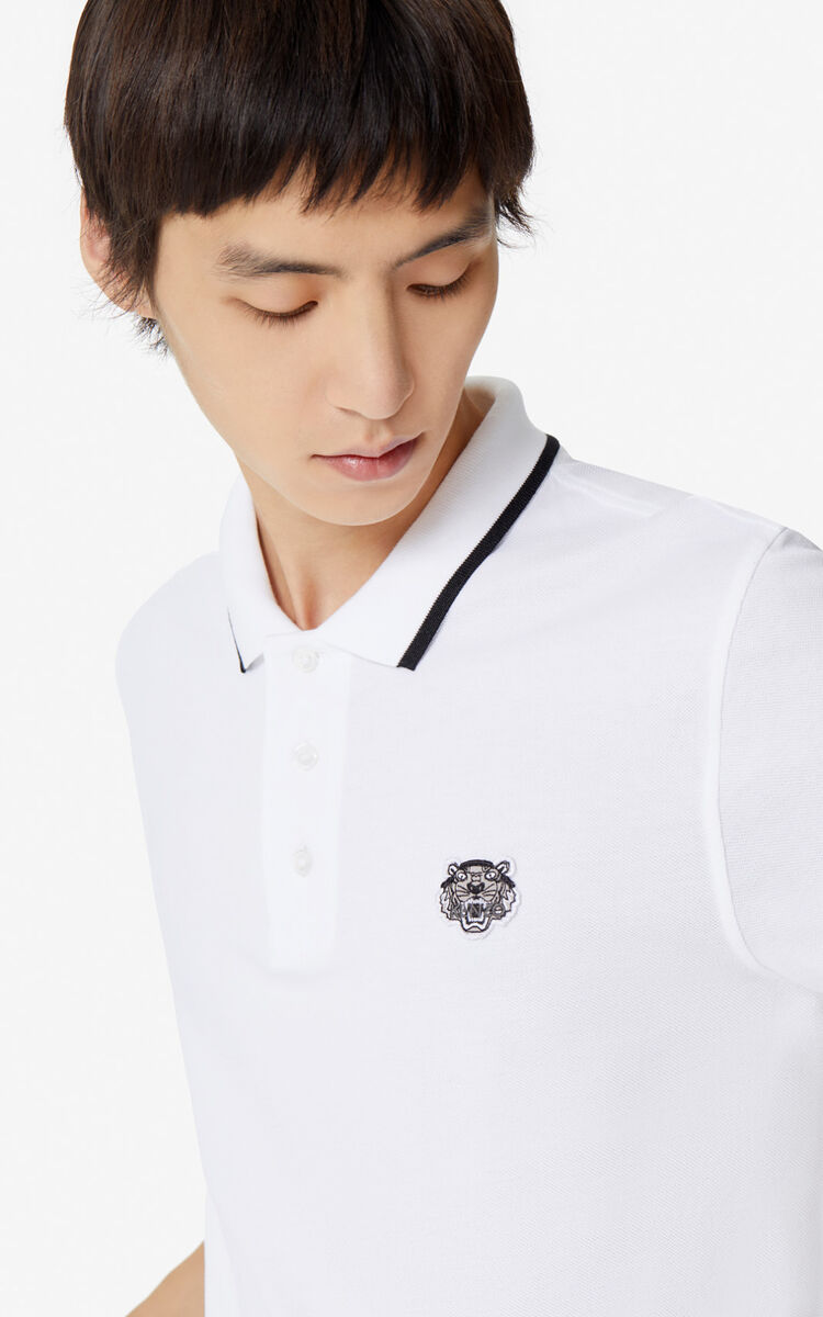 WHITE Slim fit Tiger polo shirt for men KENZO