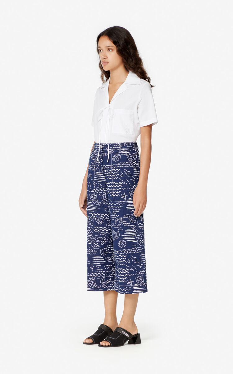 DUCK BLUE 'Wave Mermaid' culottes for women KENZO