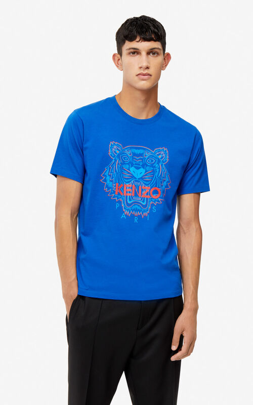 ELECTRIC BLUE Two-tone Tiger t-shirt for men KENZO