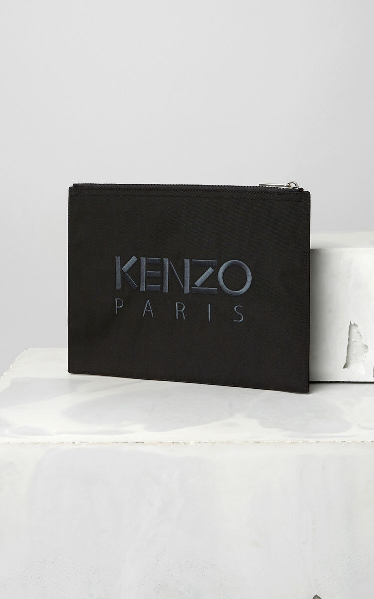 BLACK Tiger Canvas Clutch for men KENZO