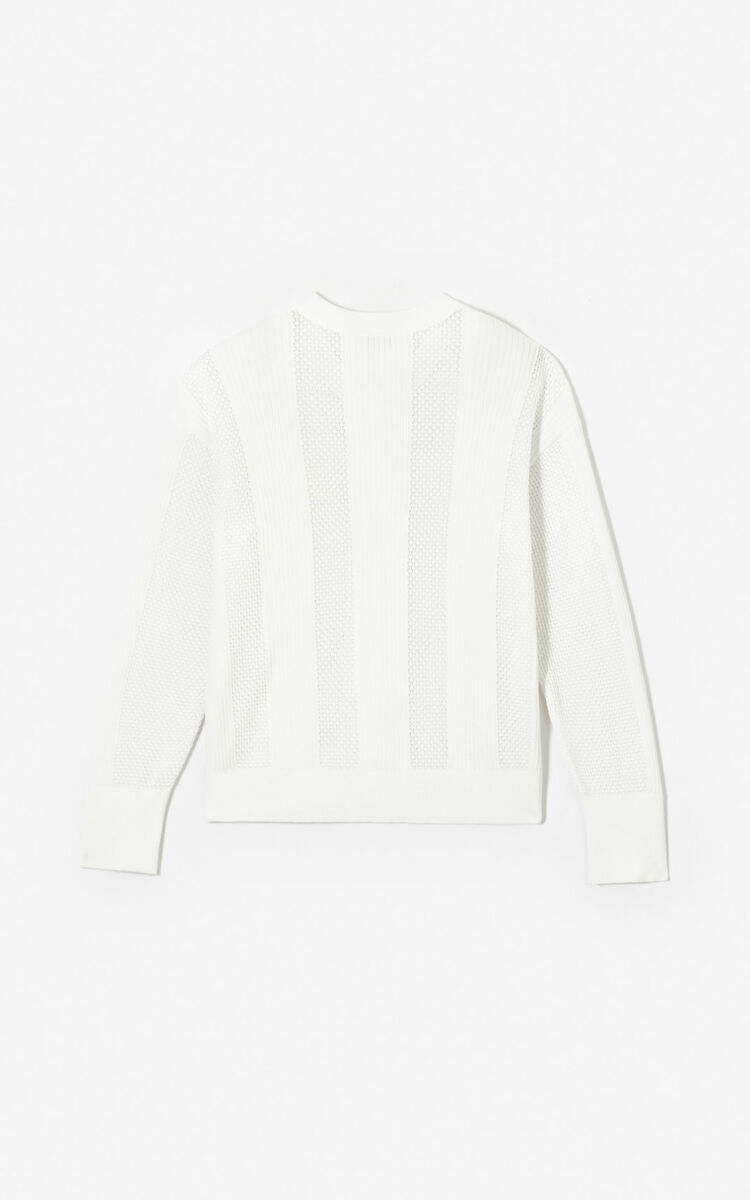 WHITE Openwork Tiger cardigan for women KENZO