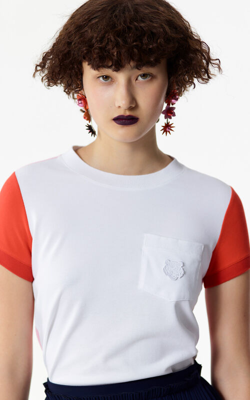 WHITE Colorblock Tiger t-shirt for women KENZO