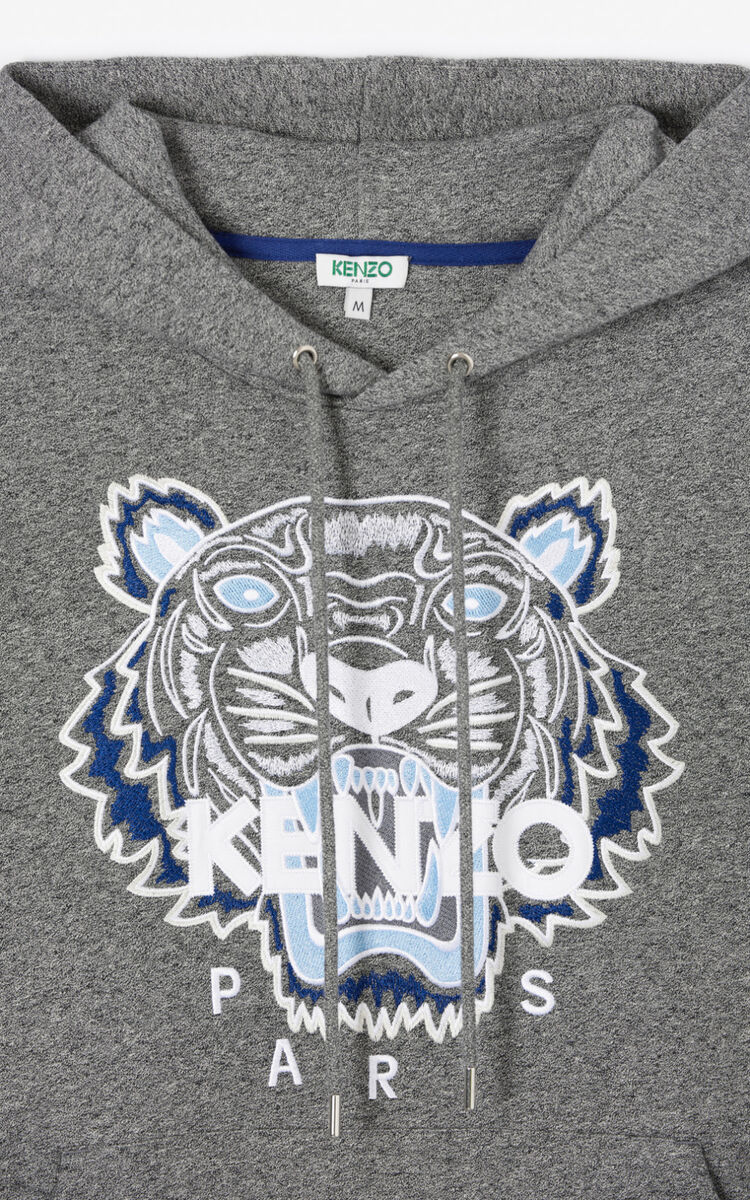 ANTHRACITE Tiger hooded sweatshirt  for men KENZO
