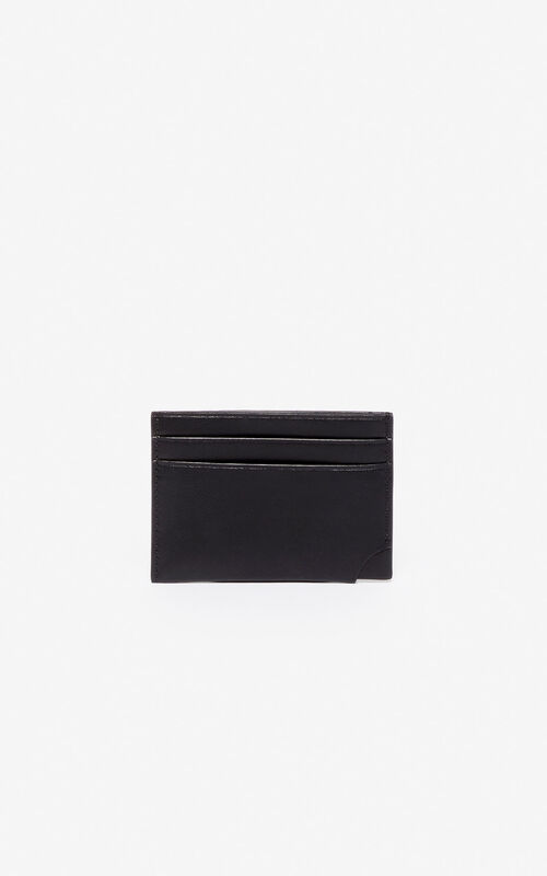 BLACK 'Jumping Tiger' leather card holder for unisex KENZO