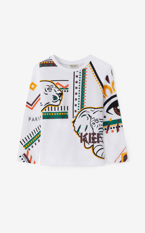 WHITE 'Lima' long-sleeved T-shirt for women KENZO