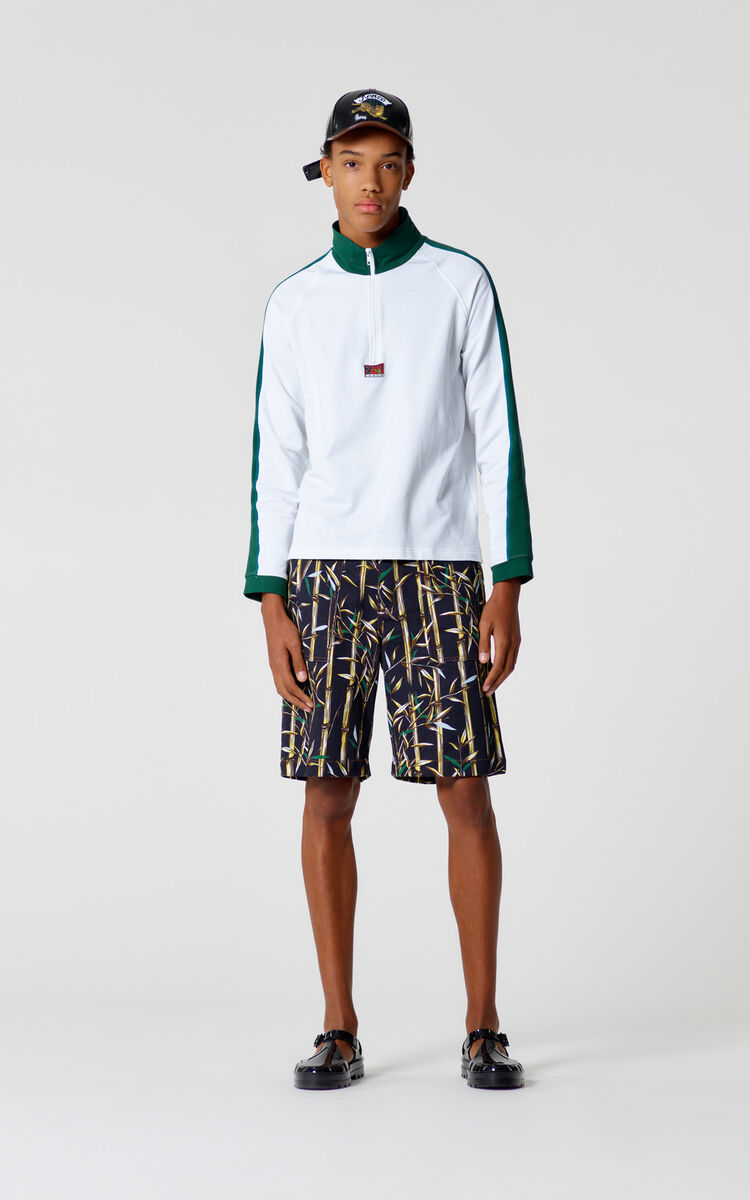WHITE 'Bamboo Tiger' zipped sweatshirt for men KENZO