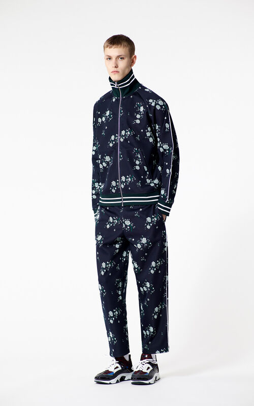 NAVY BLUE 'Cheongsam Flower' trousers for men KENZO