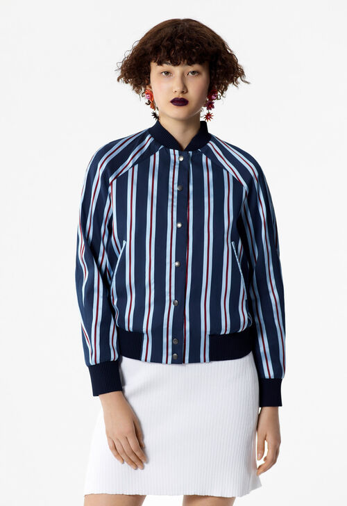 NAVY BLUE KENZO striped teddy jacket for women