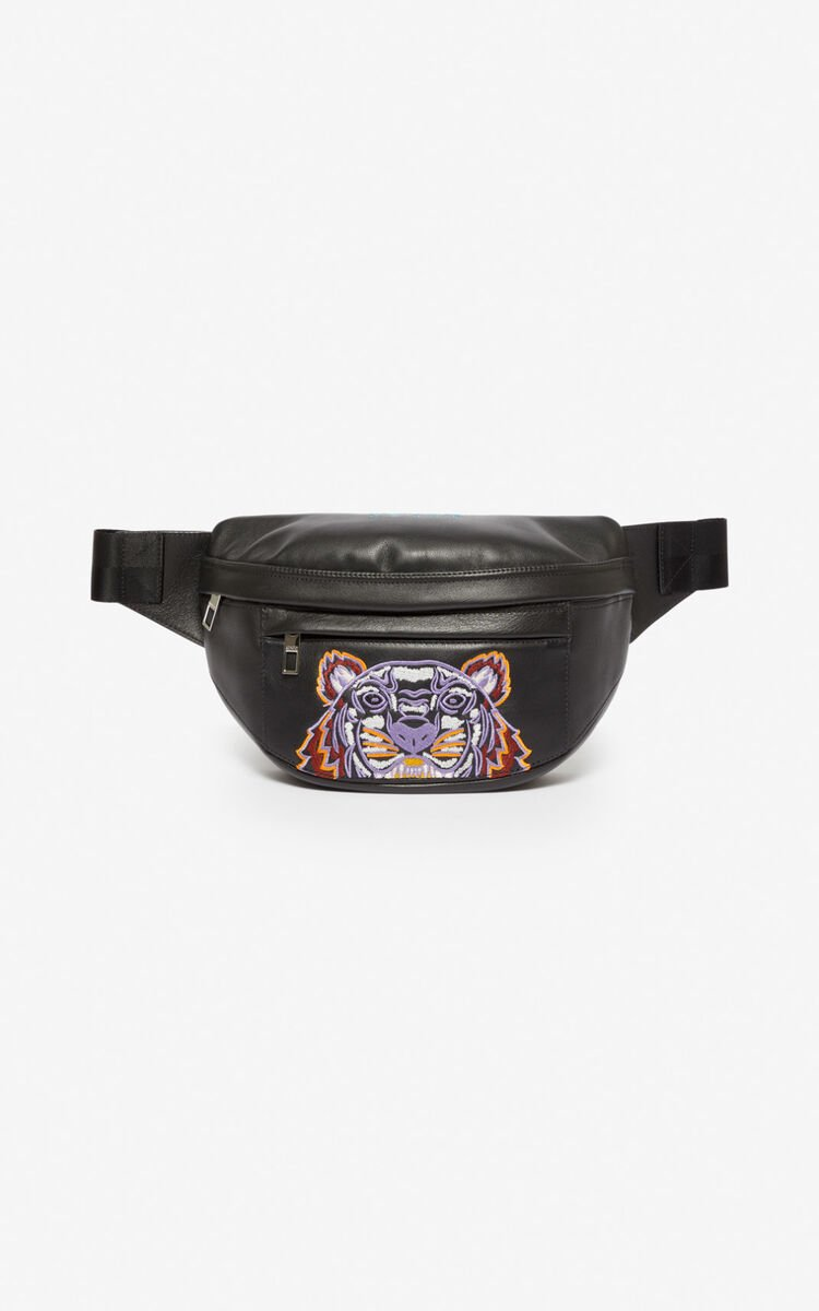 BLACK Leather 'Kampus' Tiger bumbag for unisex KENZO