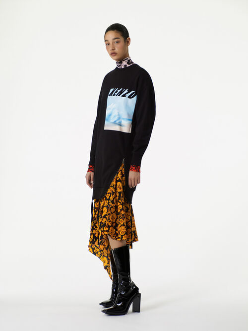 BLACK Tropical Iceberg' Sweatshirt Dress  for women KENZO