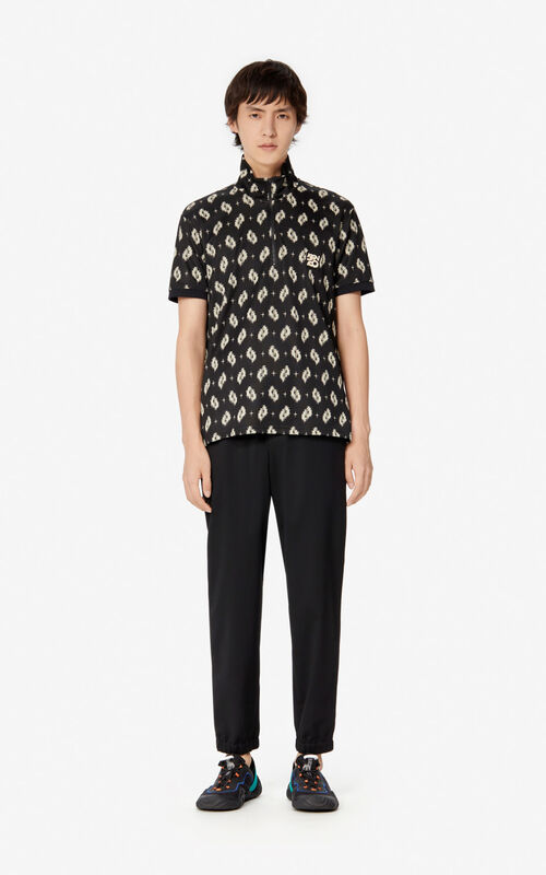 BLACK 'Ikat' polo shirt for women KENZO