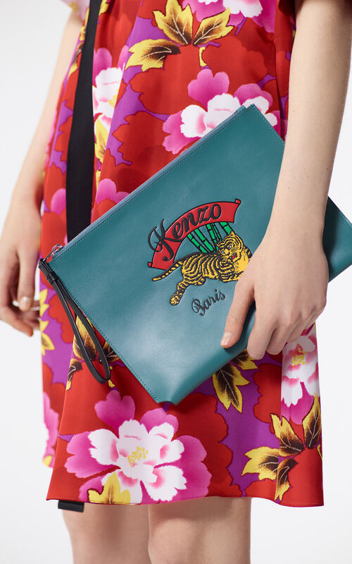DUCK BLUE A4 'Jumping Tiger' Clutch Bag for men KENZO