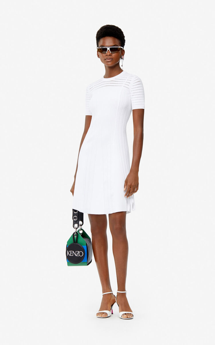 WHITE Openwork knit dress for women KENZO