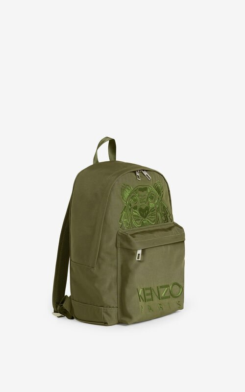 KHAKI Canvas Kampus Tiger backpack  for unisex KENZO