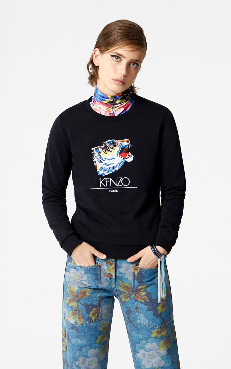 BLACK 'Tiger Head' Sweatshirt 'Go Tigers Capsule' for women KENZO