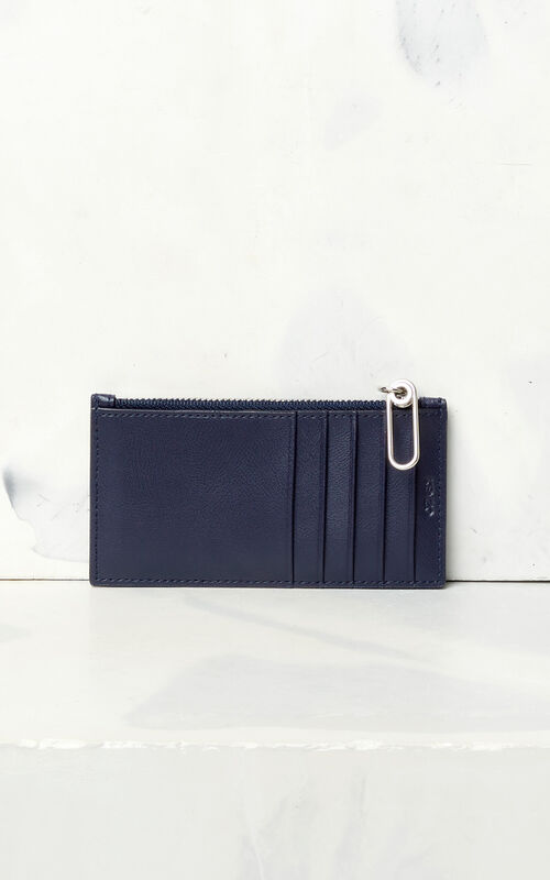 NAVY BLUE KENZO Logo leather card holder for men