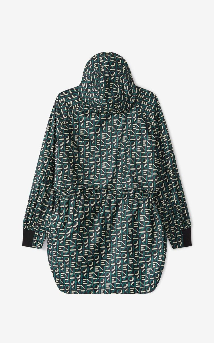 GREEN KENZO Sport monogrammed hooded anorak for women