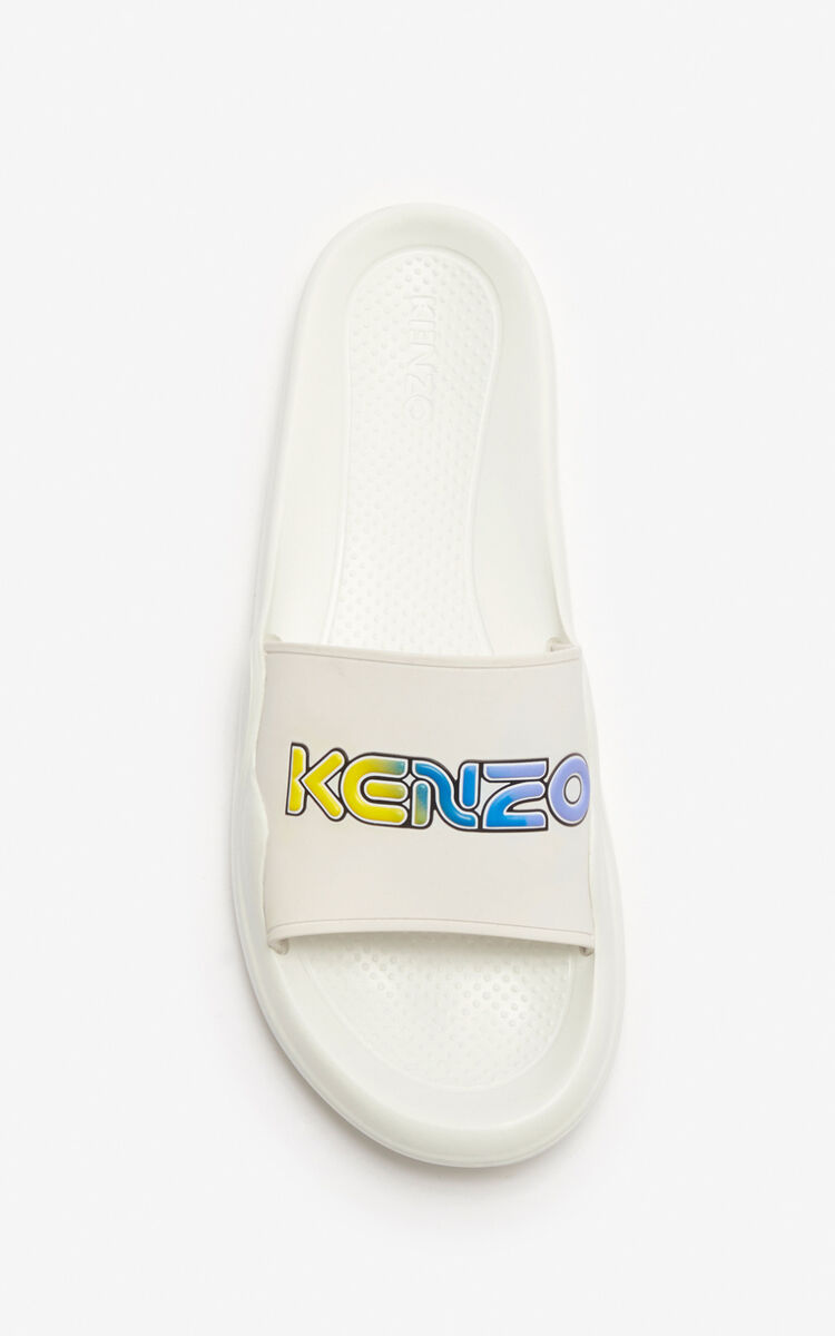 WHITE 'Wetsuit' pool mules for unisex KENZO