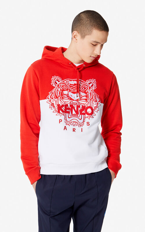 MEDIUM RED 'Colorblock Tiger' hoodie sweatshirt for men KENZO